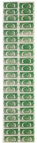 Lot 27 TO THE BEARER ON DEMAND: AN IMPORTANT PRIVATE EUROPEAN COLLECTION Andy Warhol TWO DOLLAR BILLS (BACK) (40 TWO DOLLAR BILLS IN GREEN)  Estimate   5,000,000 — 7,000,000  GBP Price Realized: £