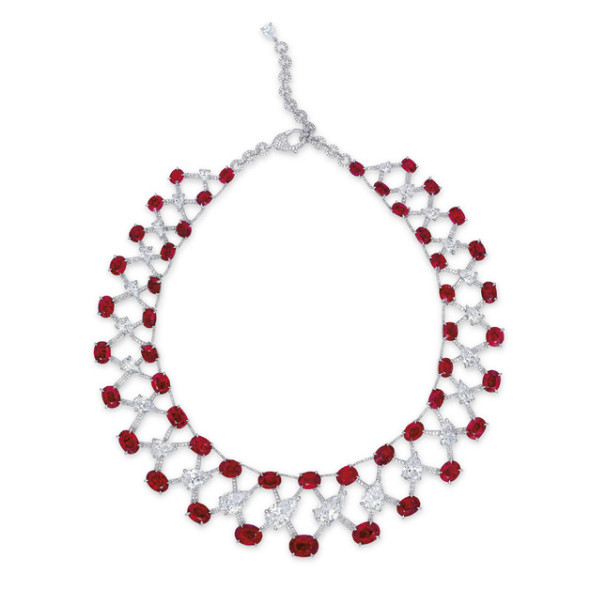 A Burmese ruby and diamond necklace of 120 carats, by Etcetera
