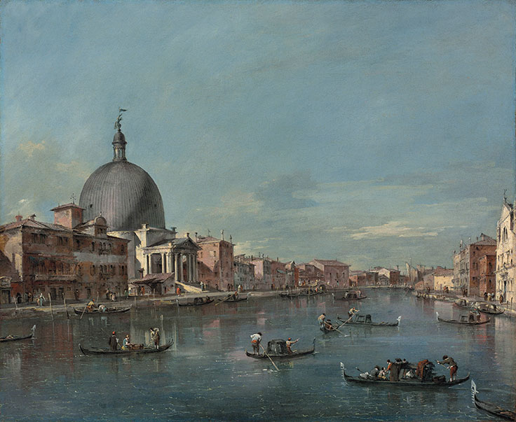 "Francesco Guardi, ""The Grand Canal, Venice, with San Simeone Piccolo"""