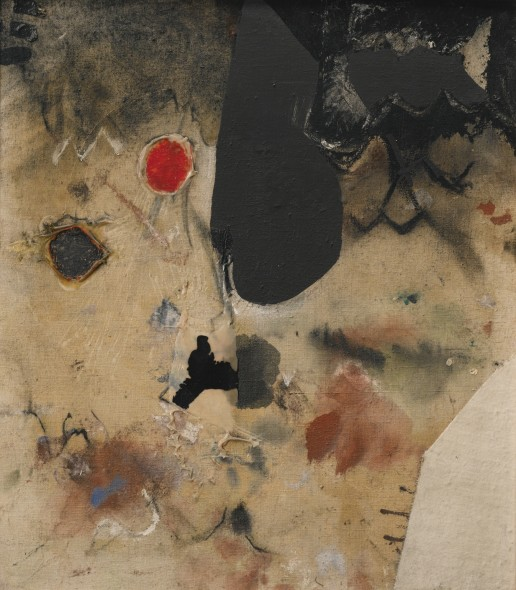 Alberto Burri BIANCO 1952 SIGNED AND DATED 52 ON THE REVERSE, BURLAB, FABRIC, OIL PAINT AND VINAVIL ON CANVAS Estimate   300,000 — 400,000  EUR
