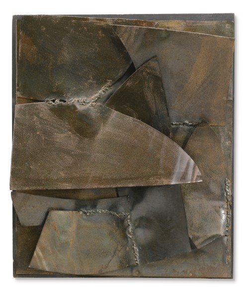 Alberto Burri FERRO SIGNED, DEDICATED, INSCRIBED AND DATED 1959 ON THE REVERSE, IRON ON WOOD Estimate   500,000 — 700,000  EUR