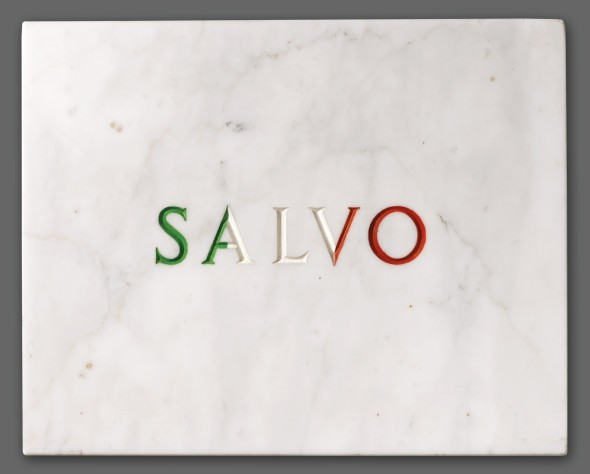 Salvo TRICOLORE CARVED MARBLE AND ENAMEL, SIGNED, INSCRIBED, TITLED AND DATED 71 ON THE REVERSE Estimate   40,000 — 60,000  EUR