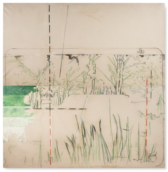 Mario Schifano EN PLEIN AIR. QUADRO PER LA PRIMAVERA SIGNED, TITLED AND DATED 1964 ON THE REVERSE, OIL AND CHARCOAL ON CANVAS, TWO ELEMENTS Estimate   200,000 — 250,000  EUR