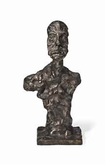 LOT 20 C Alberto Giacometti (1901-1966) Buste Chiavenna I (Buste de Diego) bronze with brown and green patina Height: 16 1/8 in. (41 cm.) ESTIMATE $1,500,000 - $2,500,000  PRICE REALIZED $1,505,000