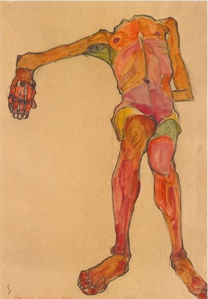 EGON SCHIELE, SEATED MALE NUDE, RIGHT HAND OUTSTRETCHED), 1910. SOLD FOR $3,370,000.