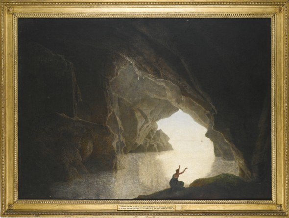 Joseph Wright of Derby, A.R.A. DERBY 1734 - 1797 A GROTTO IN THE GULF OF SALERNO, WITH THE FIGURE OF JULIA, BANISHED FROM ROME oil on canvas, held in its original Wright of Derby Neo-Classical frame 124 by 172 cm.; 48 3/4  by 67 3/4  in. Estimate   100,000 — 150,000  GBP