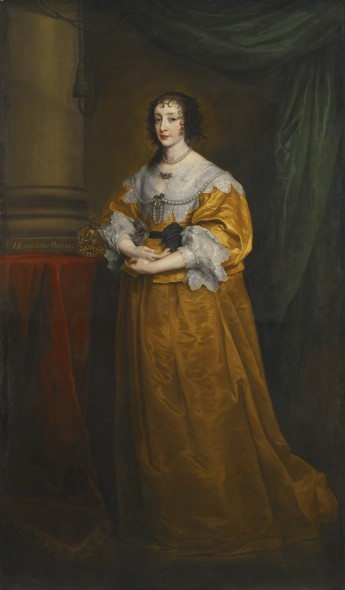 Sir Anthony van Dyck ANTWERP 1599 - 1641 LONDON PORTRAIT OF QUEEN HENRIETTA MARIA (1609–1669) later inscribed, centre left: Henrietta Maria oil on canvas, extended 127 by 81.3 cm.; 50 by 32 in. (extended in the 18th century by another hand, possibly Sir Joshua Reynolds, to create a full-length portrait of 223.6 by 130.8 cm.; 88 by 51 1/2  in.) Estimate     1,500,000 — 2,500,000  GBP