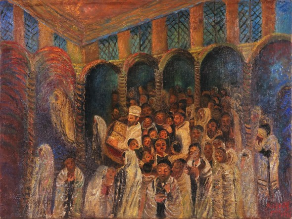 Antonietta Raphaël, Yom Kippur in the Sinagogue, 1931, olio su tela, 48 × 64 cm