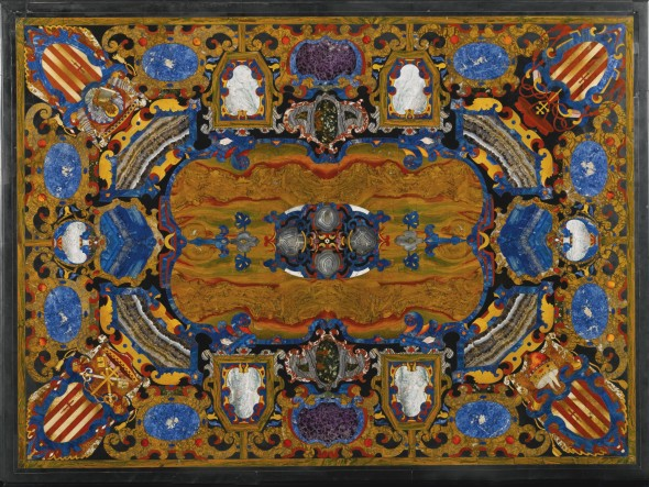 An Italian pietre dure table top inlaid with the arms and symbols of the Grimani Family, probably to a design by Bernardino Poccetti (1548-1612) Grand Ducal Workshops, Florence, circa 1600 - 1620 Estimate     400,000 — 600,000  GBP  LOT SOLD. 3,509,000 GBP