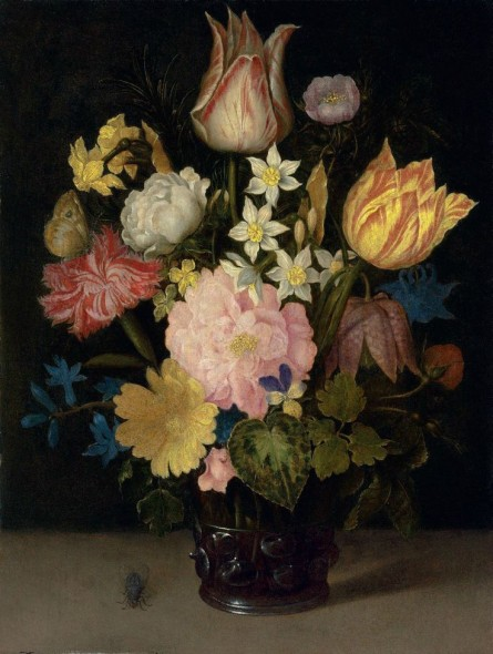 Ambrosius Bosschaert I (Antwerp 1573-1621 The Hague) Parrot tulips, a rose, a fritillary, daffodils, narcissi and other flowers in a roemer, with a Meadow Brown butterfly and a fly, on a stone table oil on oak panel 10 x 7 5/8 in. (25.3 x 19.4 cm.) Estimate  £600,000 – £800,000 ($906,000 - $1,208,000)