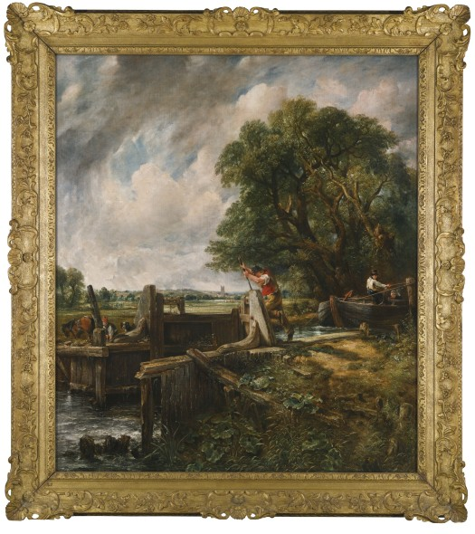 ohn Constable, R.A. EAST BERGHOLT, SUFFOLK 1776 - 1837 HAMPSTEAD THE LOCK iInscribed on an old label, verso, in the artist's hand: Landscape: Barge passing a Lock / J. Constable R.A. 35 Charlotte St / London oil on canvas 139.7 by 122 cm.; 55 by 48 in. Estimate   8,000,000 — 12,000,000