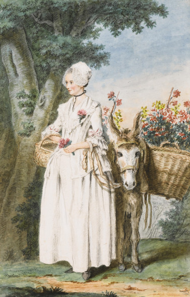 LOT 103 LOUIS CARROGIS CALLED CARMONTELLE PARIS 1717 - 1806 A MILKMAID AND A DONKEY CARRYING TWO LARGE BASKETS OF FLOWERS IN A WOOD ESTIMATE 40,000-60,000 GBP