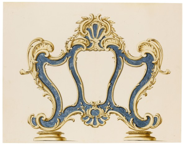 LOT 134 LUIGI VALADIER (ROME 1726 - 1785) AND WORKSHOP A CARTAGLORIA (ALTAR CARD STAND), THE SCROLL BORDERS DECORATED WITH SHELLS Pen and brown ink with brown and grey wash and simulated lapis lazuli in blue and gold on light blue gouache, over black chalk ESTIMATE 1,500-2,000 GBP