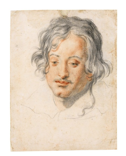 LOT 24 ATTRIBUTED TO JACOPO VIGNALI PRATOVECCHIO 1592 - 1664 FLORENCE HEAD OF A YOUNG MAN LOOKING DOWN Black and red chalk ESTIMATE 5,000-7,000 GBP
