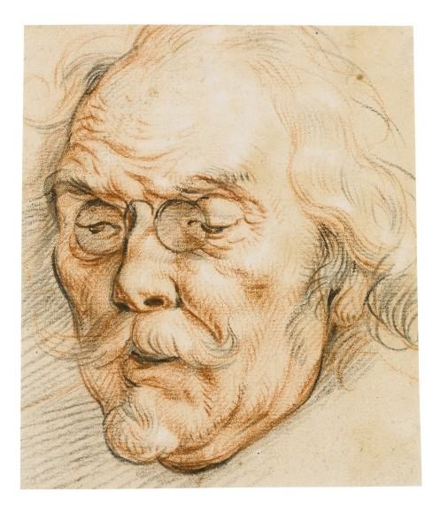 LOT 25 JACOB JORDAENS ANTWERP 1593 - 1678 HEAD OF AN ELDERLY MAN WEARING GLASSES Red, black and white chalk ESTIMATE 10,000-15,000 GBP