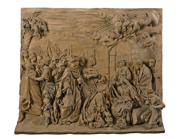 LOT 35 GIROLAMO TICCIATI (1671-1744) ITALIAN, FLORENCE, FIRST HALF 18TH CENTURY RELIEF WITH THE ADORATION OF THE MAGI terracotta ESTIMATE 70,000-100,000 GBP