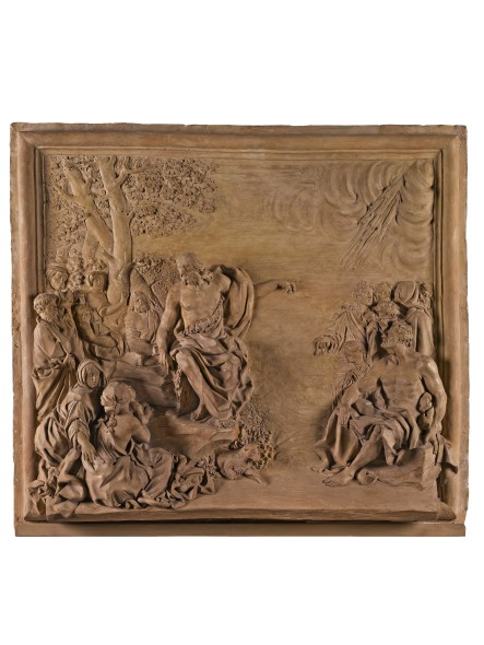 LOT 36 GIROLAMO TICCIATI (1671-1744) ITALIAN, FLORENCE, FIRST HALF 18TH CENTURY RELIEF WITH THE PREACHING OF ST. JOHN THE BAPTIST terracotta ESTIMATE 40,000-60,000 GBP