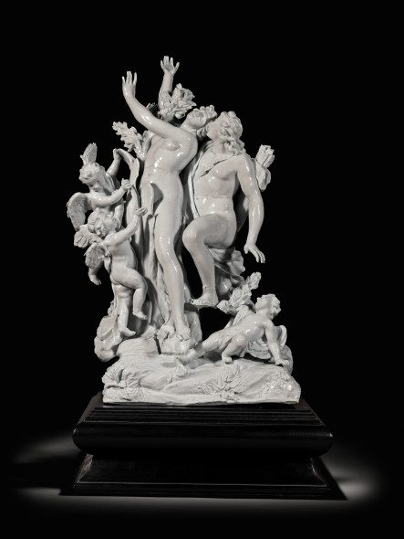 LOT 65 AFTER A MODEL BY MASSIMILIANO SOLDANI-BENZI (1656-1740) ITALIAN, DOCCIA FACTORY, CIRCA 1750 FIGURE GROUP OF APOLLO AND DAPHNE in the white porcelain ESTIMATE 100,000-125,000 GBP