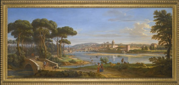 Gaspar van Wittel, called Vanvitelli AMERSFOORT 1652/3 - 1736 ROME FLORENCE, A VIEW OF THE CITY FROM THE RIGHT BANK OF THE RIVER ARNO LOOKING TOWARDS THE PONTE ALLA CARRAIA oil on canvas 71 by 170 cm.; 28 by 67 in. Estimate   1,000,000 — 1,500,000  GBP