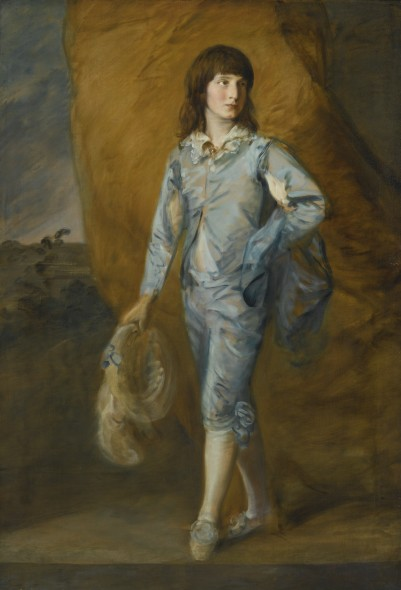 Thomas Gainsborough R.A. SUDBURY 1727 - 1788 LONDON THE BLUE PAGE Oil on canvas, with an addition of approximately 3 1/2  inches across the bottom 65 by 44 1/2  in.; 165.5 by 113 cm Estimate  3,000,000 — 4,000,000  USD