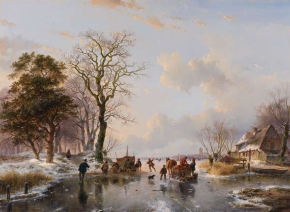 Andreas Schelfhout (1787-The Hague-1870) A Dutch winter landscape with skaters, a horse-drawn sleigh and a 'koek-en-zopie' Oil on panel 77 x 105 cm Signed and dated lower right 'A. Schelfhout 1852' This winter landscape will be exhibited at #TEFAF2016 (11-20 March 2016) by Kunsthandel A.H. Bies.