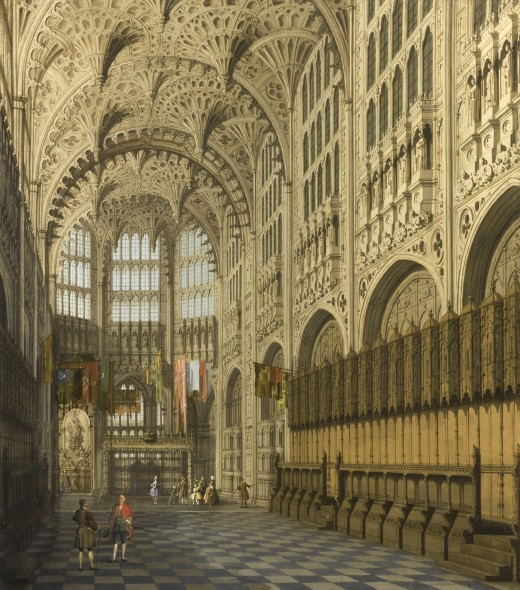 Giovanni Antonio Canal, called Canaletto VENICE 1697 - 1768 AN INTERIOR VIEW OF THE HENRY VII CHAPEL, WESTMINSTER ABBEY oil on canvas 29 1/4  by 25 5/8  in.; 74.3 by 65.1 cm.