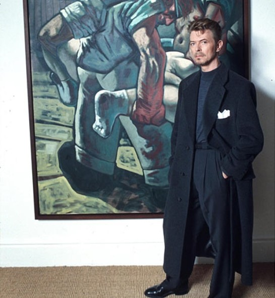 David Bowie with Peter Howson's Croatian and Muslim (1994). Photograph: Richard Young/Rex Features.