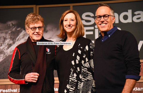 President of the Sundance Institute Robert Redford, Sundance Institute Executive Director Keri Putnam and Sundance Festival director John Cooper at the opening of the 32nd Sundance Film Festival. GETTY