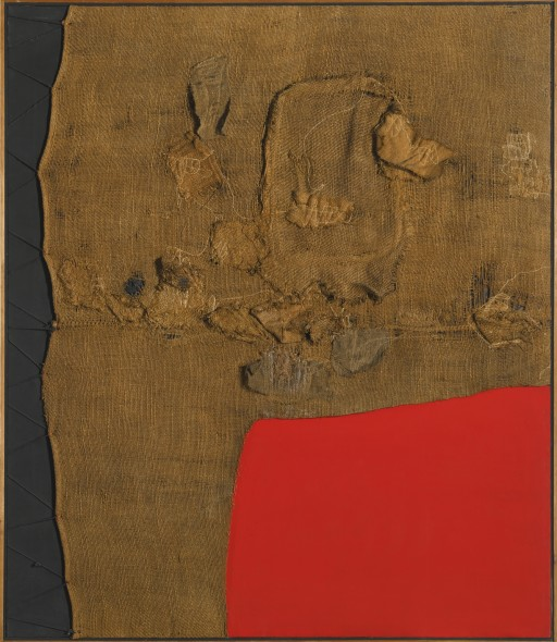 Alberto Burri 1915 - 1995 SACCO E ROSSO signed on the reverse  acrylic and burlap on canvas 149.9 by 129.5cm.; 59 by 51in. Executed circa 1959. Estimate   9,000,000 — 12,000,000  GBP