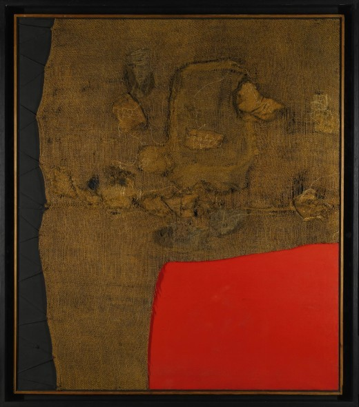 Alberto Burri 1915 – 1995 SACCO E ROSSO signed on the reverse acrylic and burlap on canvas 149.9 by 129.5cm.; 59 by 51in. Executed circa 1959. Estimate 9,000,000 — 12,000,000 GBP - See more at: https://www.artslife.com/2016/02/10/burri-da-record-venduto-a-londra-per-9109000-gbp/#sthash.gn8b8CL0.dpuf