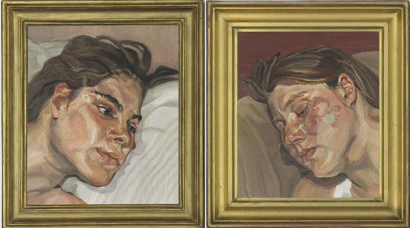 a sinistra: Lucian Freud (1922-2011) Head of Esther oil on canvas 14¼ x 12¼in. (36 x 31cm.) Painted in 1982-1983 Estimate (Set Currency) £2,500,000 – £3,500,000 a destra:  Lucian Freud (1922-2011) Head of Ib oil on canvas 14¼ x 12¼in. (36 x 31cm.) Painted in 1983-1984 Estimate (Set Currency) £2,500,000 – £3,500,000 ($3,627,500 - $5,078,500)