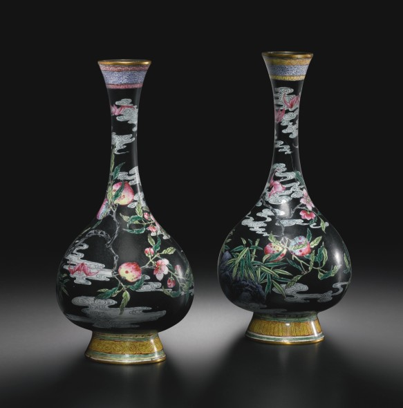 AN EXCEPTIONALLY RARE PAIR OF BEIJING ENAMEL 'PEACH AND BAT' VASES QIANLONG MARKS AND PERIOD  Estimate  250,000 — 350,000  USD CHINESE ART FROM CARAMOOR CENTER FOR MUSIC AND THE ARTS