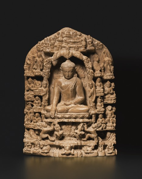 PROPERTY FROM A CALIFORNIA COLLECTION A FINE SEDIMENTARY STONE STELE DEPICTING SCENES FROM THE LIFE OF BUDDHAEastern India, Pala period, 11th/12th Century Estimate  100,000 — 150,000  USD