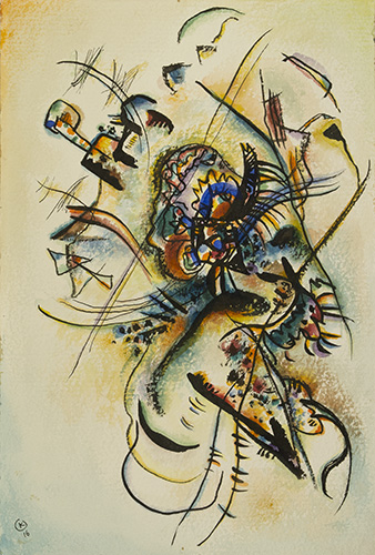 """Vassily Kandinsky (1866-1944), Composition """" Ж """" (""""Voice""""), 1916. (selection of works on paper from the Pushkin State Museum of Fine Arts)"""