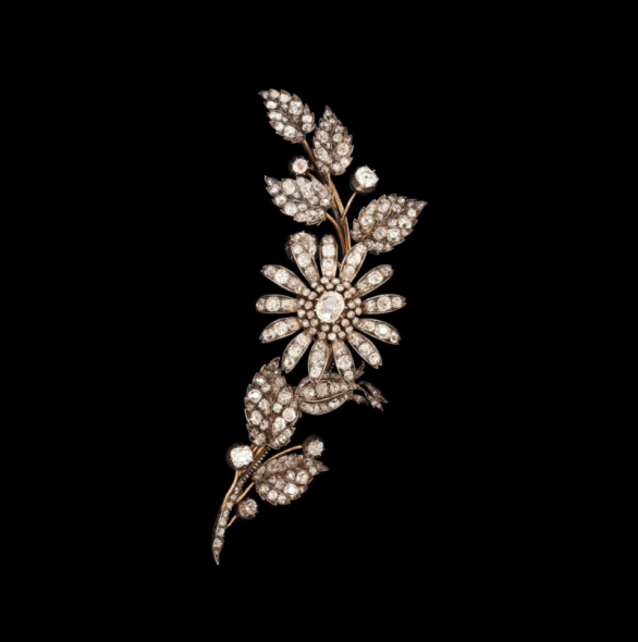 Exhibitor: A La Vieille Russie, Inc Artist / Title  Old-mine floral spray brooch  Short description  Diamonds mounted en tremblant and set in silver and gold, total circa 16 crts Length 11.4 cm France, circa 1870