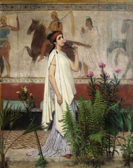 Exhibitor: Daphne Alazraki Artist / Title  Sir Lawrence Alma-Tadema (Dronrijp 1836-1912 Wiesbaden)  A Greek woman  Oil on panel 58.5 x 46 cm 96.5 x 66 cm (including frame) Signed, dated and inscribed upper left 'Alma Tadema 1869/Bruxelles' Brussels, 1869