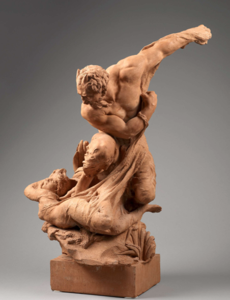Exhibitor: Agnew's Artist / Title  Jules Debois (1851-1935)  A satyr and a nymph  Terracotta worked in the round Height 71 cm Signed and dated to the reverse 'DESBOIS. 1886' 1886  Provenance Private collection, Rhineland