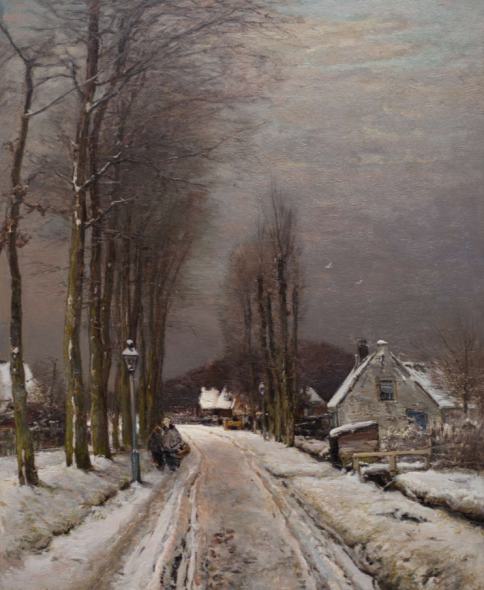 Exhibitor: Kunstgalerij Albricht b.v. Artist / Title  L.F.H. Apol (1850-The Hague-1936)  A lane with farms in winter  Oil on canvas 79.5 x 63.5 cm Signed lower left 'Louis Apol f'  Provenance Private collection, The Netherlands; Gallery A.H. Bies, Eindhoven; Private collection, Monaco