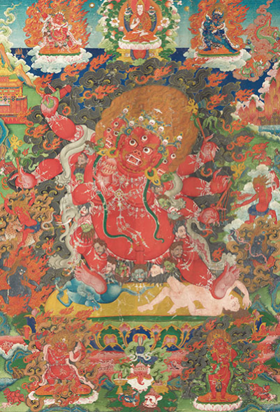 AN IMPORTANT AND FINE PAINTING OF CHAMSING BEGTSE CHEN TIBET, 19TH CENTURY Beautifully painted with the red-skinned deity trampling over a horse and prone figure on a sun disc over a lotus base, holding various implements in his six hands, adorned with bone ornaments, a garland of freshly severed heads, a green snake and elephant skin, each of his three faces with a skull tiara, surrounded by smoke and flames, with protector deities above and below 37 3/8 x 26 in. (95 x 66 cm.) Estimate (Set Currency) $500,000 – $700,000 SAVE AS INTEREST FOLLOW PLACE BID Sale Information SALE 12893 — THE VAN DER WEE COLLECTION OF HIMALAYAN PAINTINGS 15 March 2016 New York, Rockefeller Plaza