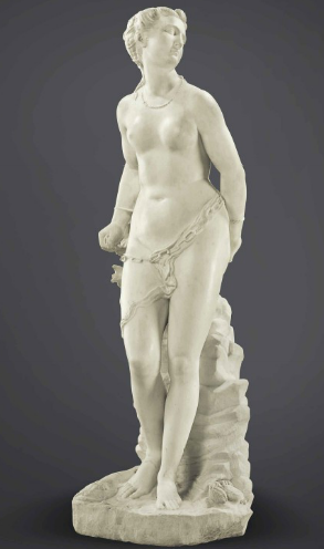 A MARBLE FIGURE OF ANDROMEDA BY PIETRO PAOLO OLIVIERI (1551-1599), 1580s Depicted chained to rockwork and with a monkfish and crab opening a shellfish at her feet, signed on the base P . PAVLI . OLIVIERII . OPVS 63 in. (160 cm.) high Estimate (Set Currency) $500,000 – $800,000
