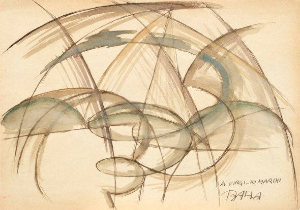 Linee di velocità + Vortice + Cielo 1914 circa Brown ink and watercolour on paper 19 x 27,1 cm Signed and dedicated lower right, in block letters, written in ink: A VIRGILIO MARCHI BALLA