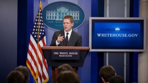 White House Press Secretary Jay Carney briefs the media in the James S. Brady Press Briefing Room of the White House