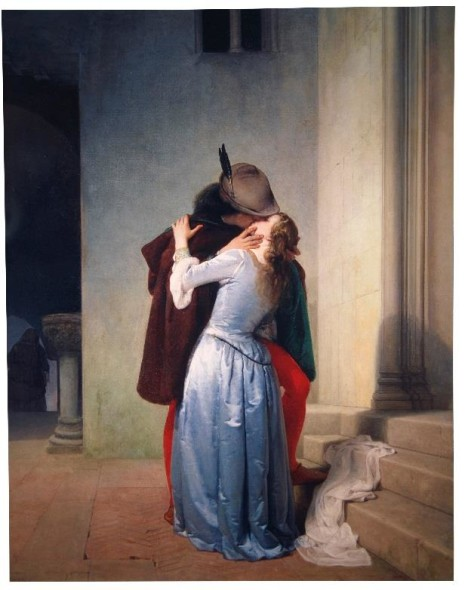 Francesco Hayez (Italian, 1791-1882) Il Bacio signed and inscribed 'Fran.co Hayez/Veneziano' (lower left) oil on canvas 46 5/8 x 34 7/8 in. (118.4 x 88.6 cm.) Painted in 1867.