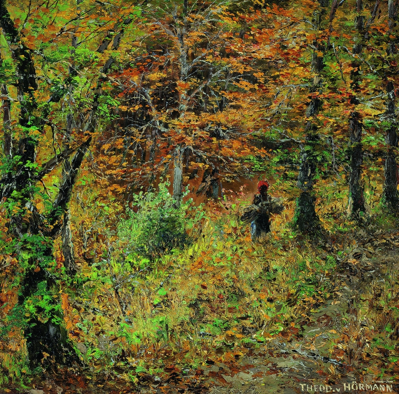 HEODOR VON HÖRMANN, Thicket in an Autumnal Beech Forest, Wessling   c. 1892 © Private collection