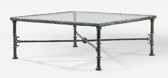 Diego Giacometti TABLE GRECQUE, VERS 1965 'GRECQUE', A PATINATED BRONZE OCCASIONAL TABLE WITH GLASS TOP, CIRCA 1965. SIGNED Estimate   150,000 — 200,000  EUR  LOT SOLD. 399,000 EUR