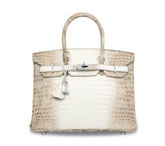 AN EXCEPTIONAL, MATTE WHITE HIMALAYA NILOTICUS CROCODILE DIAMOND BIRKIN 30 WITH 18K WHITE GOLD & DIAMOND HARDWARE HERMÈS, 2008 CONDITION REPORT GRADE: 1 30 w x 22 h x 15 d cm Featuring 245 F-color, VVS clarity diamond for a total diamond carat weight of 9.84 set in 174.4 g 18k white gold.  with clochette, lock, keys, exotic card, felt cover, raincover, small dustbag, dustbag, small box and box