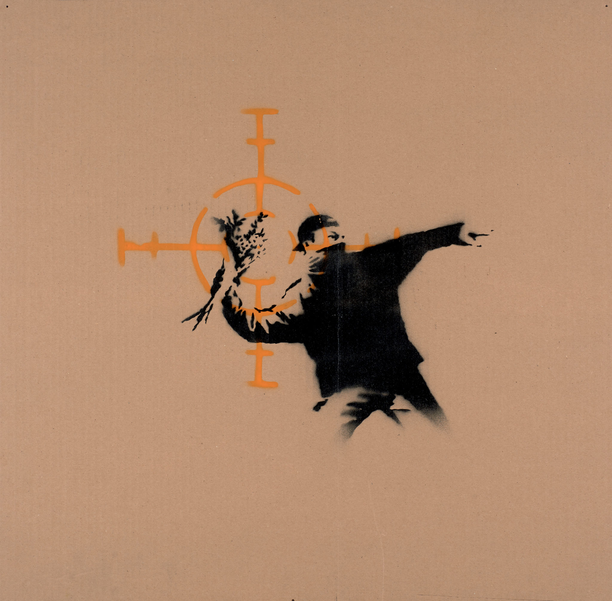 Banksy Love in the air 2003 Stencil e spray su cartone, 66x67,50 cm Collezione C.H., Monaco di Baviera