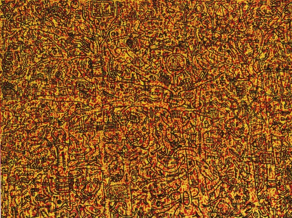 Keith Haring 1958 - 1990 THE LAST RAINFOREST acrylic and enamel on canvas 182.2 by 242.6 cm. 71 3/4 by 95 1/3 in. Executed in 1989. Estimate   2,000,000 — 3,000,000  GBP  LOT SOLD. 4,181,000 GBP