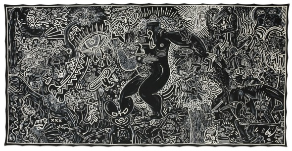 Keith Haring 1958 - 1990 UNTITLED (SEPTEMBER 14, 1986) signed, titled and dated Sept. 14 1986 on the reverse acrylic and enamel paint on canvas with metal grommets 95 x 192 in. 241.3 x 487.7 cm.Estimate   2,000,000 — 3,000,000  USD  LOT SOLD. 4,869,000 USD