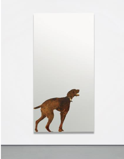 7 MICHELANGELO PISTOLETTO Violet Dog, 1968 painted tissue paper on stainless steel 225 x 115 cm (88 5/8 x 45 1/4 in.) Signed, titled, dated and inscribed 'Pistoletto >Violet Dog< 1968 Ciao!' on the reverse.  Estimate £400,000 - 600,000 ♠ SOLD FOR £905,000
